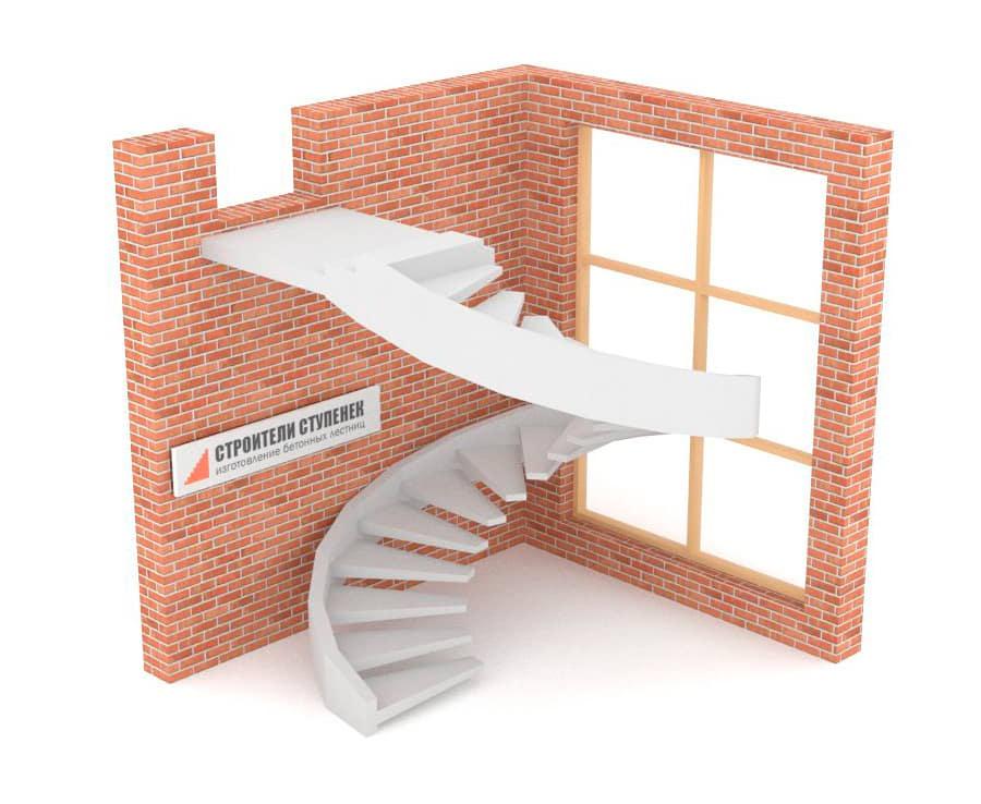 Винтовая бетонная лестница  на внешней тетиве
